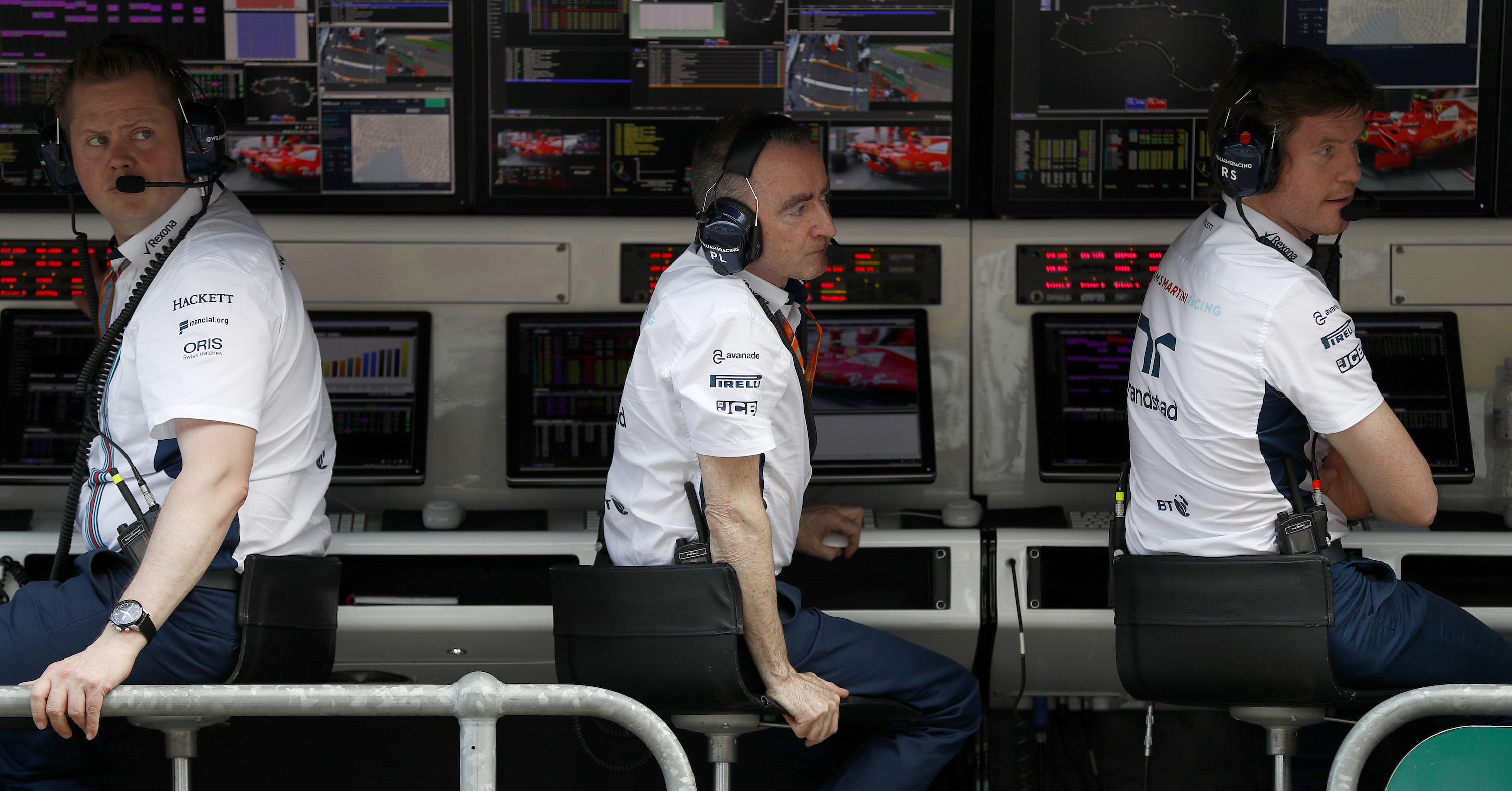 Paddy Lowe and Rob Smedley of Williams Martini Racing, on the pit wall during the 2017 Australian Grand Prix.