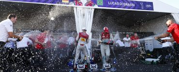 Lucas Di Grassi and Daniel Abt Celebrate with Audi team.