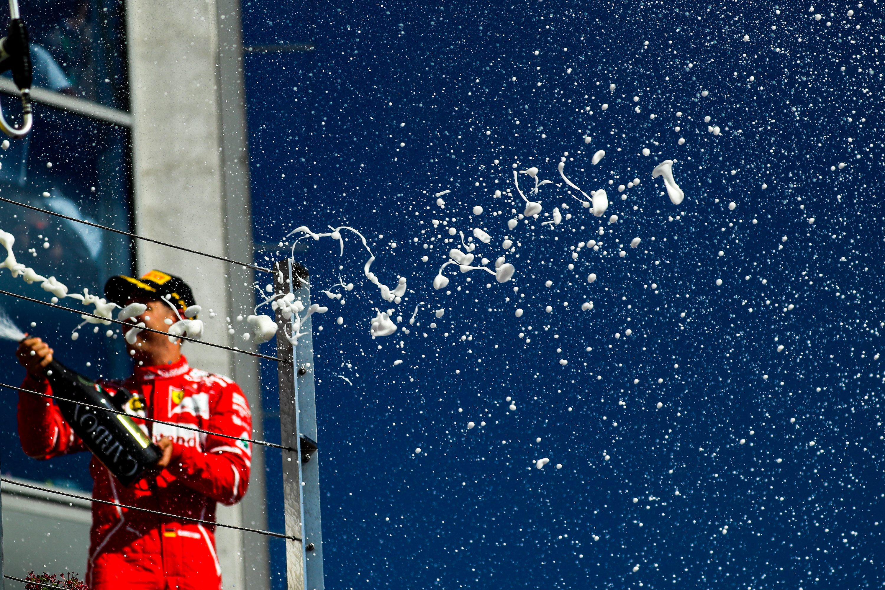 Champagne bubbles at the podium celebrations at Formula One World Championship, 2017 Hungarian Grand Prix.