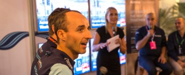 Robert Kubica at a press conference with Acronis.