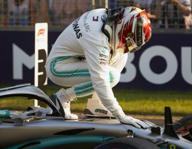 Lewis Hamilton celebrates pole in Australia